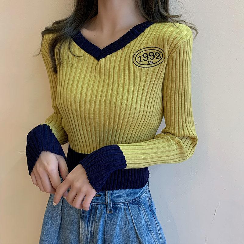 【源头厂家直供】v领针织衫秋长袖上衣2021年新款打底衫短款毛衣女
