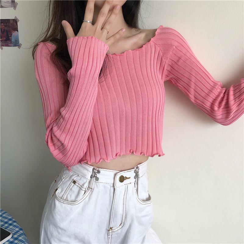 【源头厂家直供】2021新款上衣女秋季紧身糖果色打底衫长袖针织衫