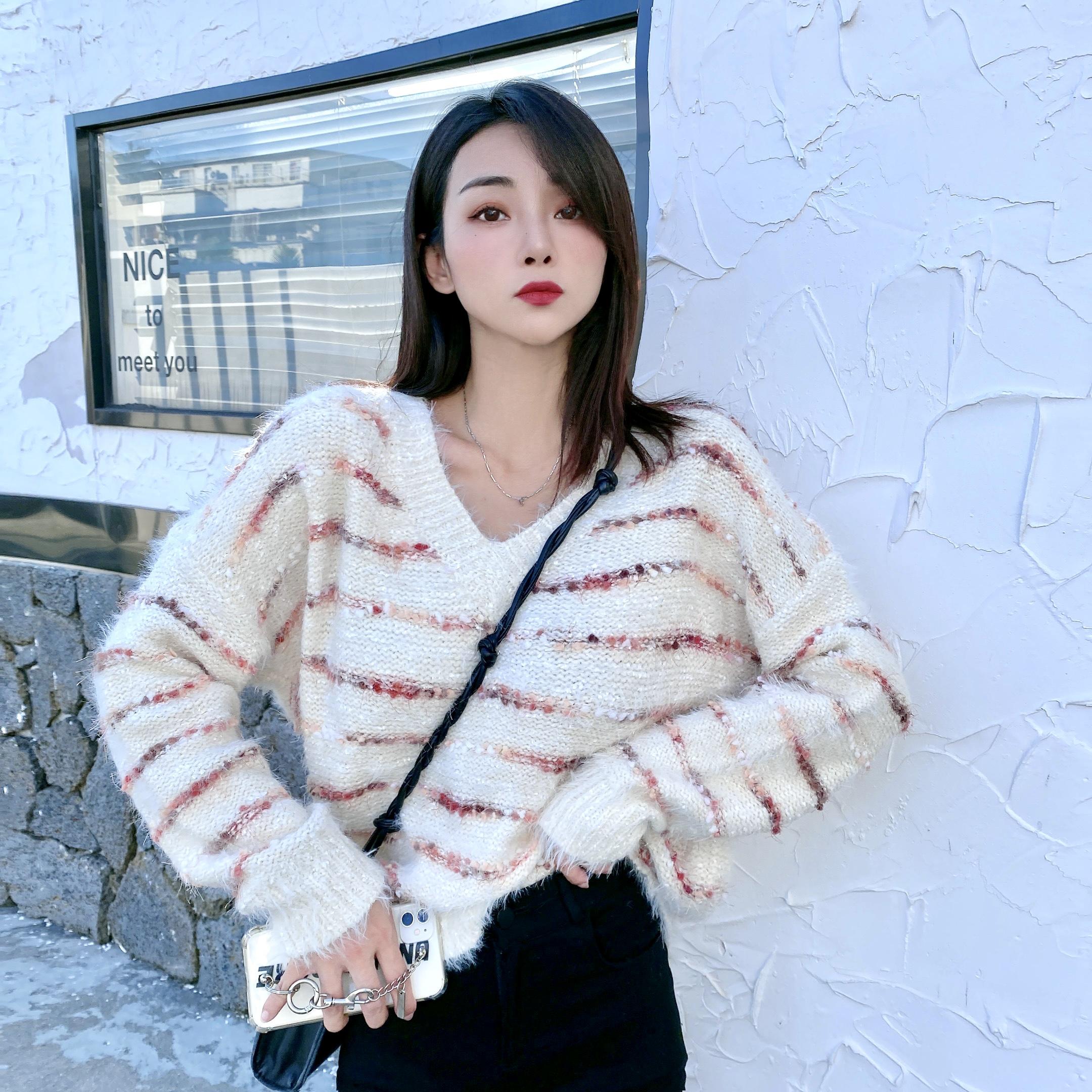 实拍D&ONE2021秋冬季新款慵懒风宽松外穿套头羊毛上衣